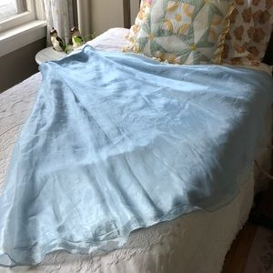 vintage sky blue maxi skirt with shiny sheen